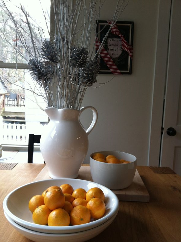 Kitchen table and oranges